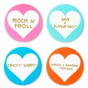 Betsey Johnson xox Trolls Set of 4 Coasters
